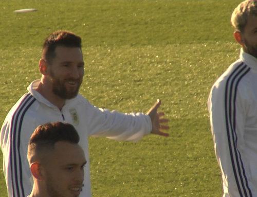 Messi entrena con la selección Argentina en Mallorca.